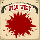 Wild West poster background with revolvers and text. Vector vintage illustration Royalty Free Stock Photos