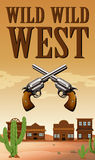 Wild west poster with buildings and guns. Illustration Stock Image