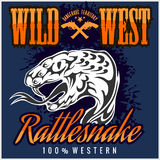 Wild west and rattlesnake - vintage vector artwork Stock Photos