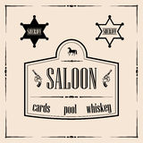 Wild west related illustrations - saloon sign with sheriff stars Royalty Free Stock Photo