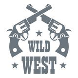 Wild west revolver logo, simple style Stock Images