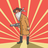 Wild west robber with gun hand drawn illustration Royalty Free Stock Photos