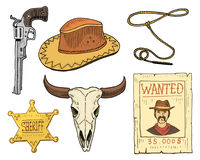 Wild west, rodeo show, cowboy or indians with lasso. hat and gun, cactus with horseshoe, sheriff star and bison, bull. Skull and wanted poster. engraved hand Stock Photos