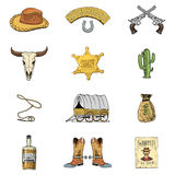Wild west, rodeo show, cowboy or indians with lasso. hat and gun, cactus with sheriff star and bison, boot with. Horseshoe and wanted poster. engraved hand Stock Photos