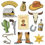 Wild west, rodeo show, cowboy or indians with lasso. hat and gun, cactus with sheriff star and bison, boot with. Horseshoe and wanted poster. engraved hand Royalty Free Stock Photos