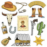 Wild west, rodeo show, cowboy or indians with lasso. hat and gun, cactus with sheriff star and bison, boot with. Horseshoe and wanted poster. engraved hand Stock Images