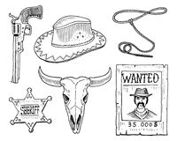 Free Wild West, Rodeo Show, Cowboy Or Indians With Lasso. Hat And Gun, Cactus With Horseshoe, Sheriff Star And Bison, Bull Stock Photos - 96034973