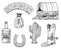 Wild west, rodeo show, sheriff, cowboy or indians. cart and wooden signboard, money bag, boot with horseshoe, whiskey. And cactus. engraved hand drawn in old Stock Photos