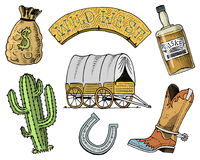 Wild west, rodeo show, sheriff, cowboy or indians. cart and wooden signboard, money bag, boot with horseshoe, whiskey. And cactus. engraved hand drawn in old Royalty Free Stock Images