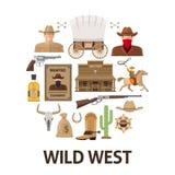 Wild West Round Composition Stock Photos