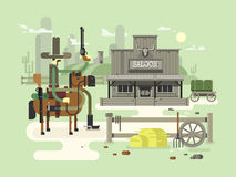 Wild west saloon. Cowboy and western, old building town, sheriff flat vector illustration Stock Photo