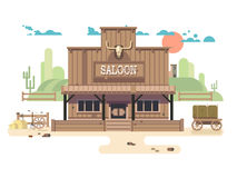 Wild west saloon. Cowboy and western, old building town, sheriff vector illustration stock illustration