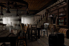 Wild West saloon. Empty saloon 3d illustration created from my mind stock illustration