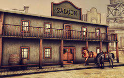 Wild West saloon and horses. Colorful Wild West saloon and horses in the street vector illustration