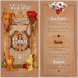 Wild west saloon menu. Wild west saloon restaurant menu template with saddle cowboy hat sheriff badge vector illustration royalty free illustration