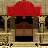Wild West Saloon. Raster version of vector image of the door of the Saloon in Wild West with a red signboard. There is in addition a vector format (EPS 8 vector illustration