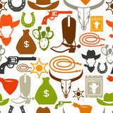 Wild west seamless pattern with cowboy objects and Royalty Free Stock Image