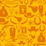 Wild west seamless pattern with cowboy objects and Royalty Free Stock Photo