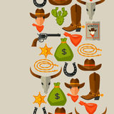 Wild west seamless pattern with cowboy objects and Stock Photography