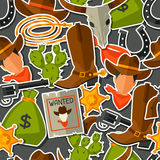 Wild west seamless pattern with cowboy objects and Stock Photos