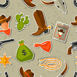 Wild west seamless pattern with cowboy objects and Stock Photo