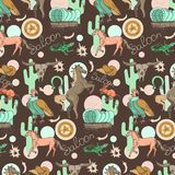 Wild west pattern. Wild west seamless pattern with horse, skull, cactus, wagon, lizard, scavenger on a brown background Royalty Free Illustration