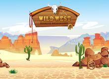 Wild west seamless pattern with mountains and cacti. Retro western background for games, ui, posters etc. Vector wild west royalty free illustration