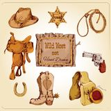 Wild west set colored Royalty Free Stock Photos