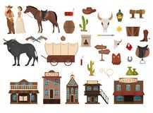 Wild west set. Cowboy, cactus, horse and cow. Saloon. And sheriff building. Criminal wanted announcement. Collection of elements royalty free illustration