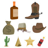 Wild west set icons in cartoon style. Big collection of wild west vector symbol stock illustration. Wild west set icons in cartoon style. Big collection of wild Royalty Free Stock Photo