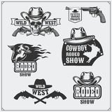 Wild west. Set of rodeo, cowboy vintage emblems, labels, badges and design elements. Royalty Free Stock Photography