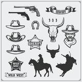 Wild west. Set of rodeo, sheriff and cowboy vintage emblems, icons and design elements. Royalty Free Stock Photography