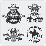 Wild west. Set of sheriff and cowboy vintage emblems, labels, badges and design elements. stock illustration