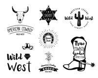 Wild West. Set of vintage rodeo emblems, labels, logos, badges Stock Photo
