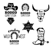 Wild West. Set of vintage rodeo emblems, labels, logos, badges and designed elements. Western USA label about wild west. Vector Stock Images