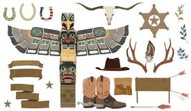 Wild west set with, wigwam, shaman totem stones, flowers, ribbon, boots, hat, bull, bow, bone, ranger star, sheriff stock illustration