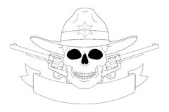 Wild west sheriff emblem. Contour Royalty Free Stock Photography
