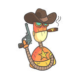 Wild West Sheriff Orange Robot In Cowboy Hat With Gun And Cigar Cartoon Outlined Illustration With Cute Android And His. Emotions. Comic Vector Sticker With Stock Photography