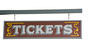 Wild West Signboard Tickets from a Ticket Agency Royalty Free Stock Images