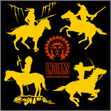 Wild west silhouettes - native american warriors riding horses Stock Photography
