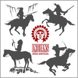 Wild west silhouettes - native american warriors riding horses. Vector illustration isolated on white Royalty Free Stock Photo