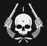Wild west skull with bullet hole and 2 pistols Royalty Free Stock Photos