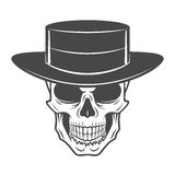 Wild west skull with hat. Smiling rover logo Royalty Free Stock Photography