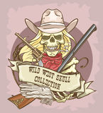 Wild West skull label Royalty Free Stock Photography