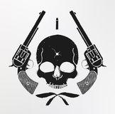 Wild west skull and pistols emblem Stock Image