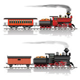 Wild west steam train. Old american steam locomotive. Passenger and freight wagon. Vector illustration Stock Images