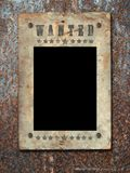 Wild West styled poster. Old Paper Texture On a old Rusty-colored background, close up stock photo