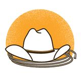 Wild West symbol illustration with cowboy western hat stock illustration