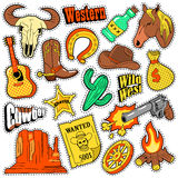 Wild West Texas Western Badges, Patches, Stickers with Cowboy, Horse, Gun and Sheriff. Vector Doodle Royalty Free Stock Photography