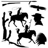 Wild west theme black vector silhouette set. Cowboy, native american chief, eagle and cactus design collection Royalty Free Stock Image